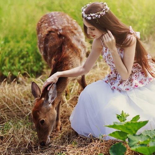 美女爱护小动物500x500分辨率图片:用爱安顿心灵